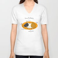 guinea pig V-neck T-shirts featuring Guinea Pig Anatomy by mausekonig