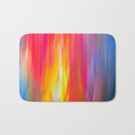 BRIGHT HORIZONS Bold Colorful Rainbow Pink Yellow Blue Abstract Painting Sunrise Sunset Stripes  Bath Mat