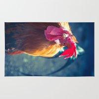 cock Area & Throw Rugs featuring Cock Peek by Waltteri Reunamo