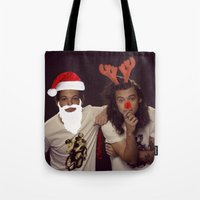 larry stylinson Tote Bags featuring Noel and Rudolph - Larry Stylinson Christmas by girllarriealmighty