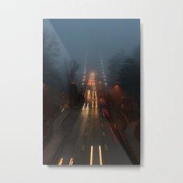 Lions Gate in the Fog Metal Print