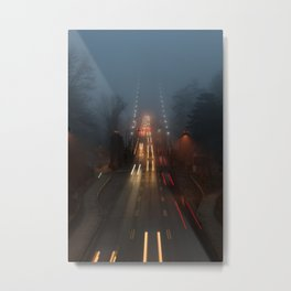 Lions Gate in the Fog Metal Print