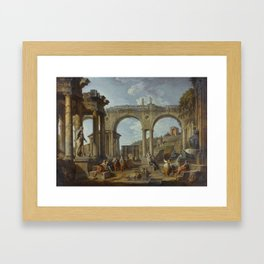 A Capriccio of Roman Ruins with the Arch of Constantine by Giovanni Paolo Panini Framed Art Print