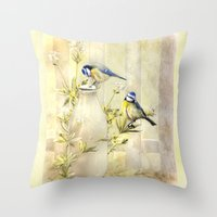 tits Throw Pillows featuring English Blue Tits by Trudi Simmonds