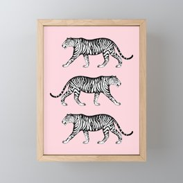 Tigers (Pink and White) Framed Mini Art Print