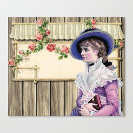 VINTAGE LADY AND ROSES Pop Art Canvas Print