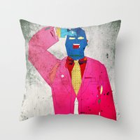 suit Throw Pillows featuring Suit Salute by Alec Goss