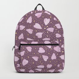 Abstract Purple Watercolor Pink Hearts Gold Dots Pattern Backpack