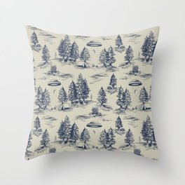 Alien Abduction Toile De Jouy Pattern in Blue Throw Pillow