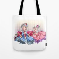 gossip girl Tote Bags featuring Gossip Girls by Miss Holly