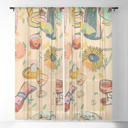 COCKTAILS IN THE GARDEN Sheer Curtain