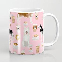 Husky siberian huskies coffee cute dog art drinks latte dogs pet portrait pattern Coffee Mug