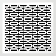Contemporary Black and White Split Ovals Pattern Art Print
