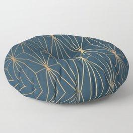 Benjamin Moore Hidden Sapphire Geometric Gold Pattern  Floor Pillow