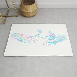 the creation of weed- holographic Rug
