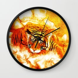 A Relaxed Fire Tiger On Gardenias Wall Clock