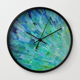 SEA SCALES - Beautiful Ocean Theme Peacock Feathers Mermaid Fins Waves Blue Teal Color Abstract Wall Clock