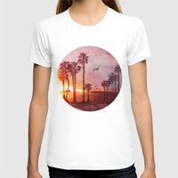 santa monica T-shirts featuring Sunset in Santa Monica by Kate Tova