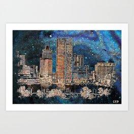 Starry night in Baltimore Art Print