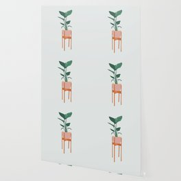 Boho mid century modern house plant and pot stand Wallpaper