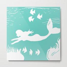 Mint and White Mermaid Silhouette Art Metal Print
