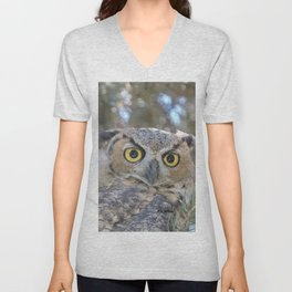 Young Owl at Noon Unisex V-Neck