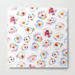 Modern hand painted pink blue lilac watercolor peonies Metal Print