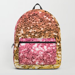 Ombre Mermaid Sparkly Glitters Colorful Pink Gold Cute Girly Backpack