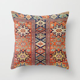 Southwestern Farmhouse V // 19th Century Colorful Red Yellow Blue Green Aztec Farm Stars Pattern Throw Pillow