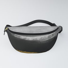 Black and Gold grunge stripes on modern grey concrete abstract backround I - Stripe - Striped Fanny Pack