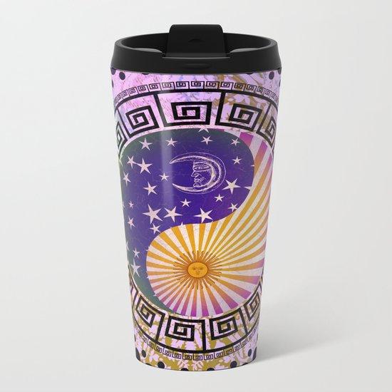 Vintage Sun Moon & Stars Yin & Yang Metal Travel Mug