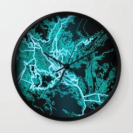 La Paz, Bolivia, Blue, White, Neon, Glow, City, Map Wall Clock
