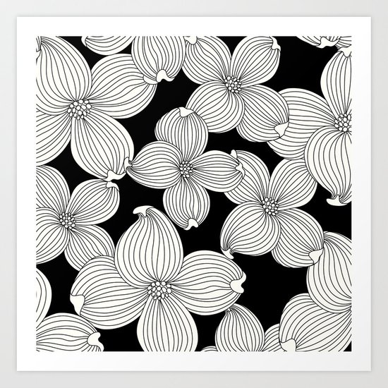 Dogwood Floral Linear: Ivory on Black  Art Print