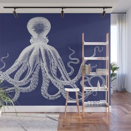 Octopus | Navy Blue and White Wall Mural