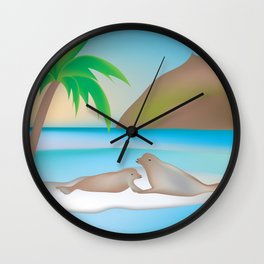 Galapagos Islands - Skyline Illustration by Loose Petals Wall Clock
