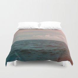 Turquoise Ocean Peach Sunset Duvet Cover
