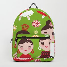 Seamless pattern spanish Woman flamenco dancer. Kawaii cute face with pink cheeks and winking eyes. Backpack