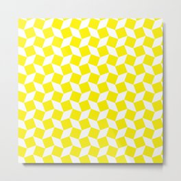 Yellow Op Art Pattern Metal Print