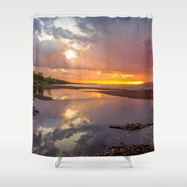 Fiery Sunset on Lake Superior Shower Curtain