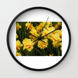 Bright, cheerful yellow daffodils Wall Clock