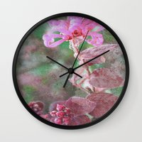 fringe Wall Clocks featuring Fringe Flower by Sandy Moulder