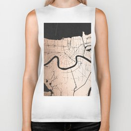 New Orleans Rose Gold and Black Map Biker Tank