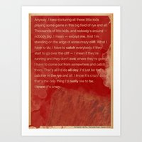 catcher in the rye Art Prints featuring Catcher in the Rye by The Quotes Project