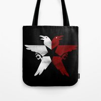 infamous Tote Bags featuring Infamous: Second Son - Jacket Bird Logo (Distressed) by Dsavage94