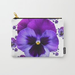 PURPLE PANSIES GARDEN WHITE PATTERN ART Carry-All Pouch