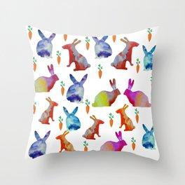 Rabbits Joy Throw Pillow
