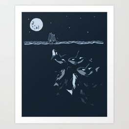 Pod of Killer Whale (Orca) and small boat in midnight ocean scene Art Print