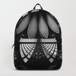 Shikoba Fractal -- Glittering Black and White Feathers in the Night Backpack