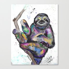 Watercolor Rainbow Sloth Canvas Print