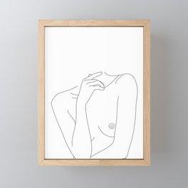 Woman's body line drawing - Cecily Framed Mini Art Print